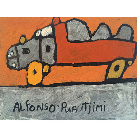 Red & Grey Truck, ochre on paper by Alfonso Puautjimi