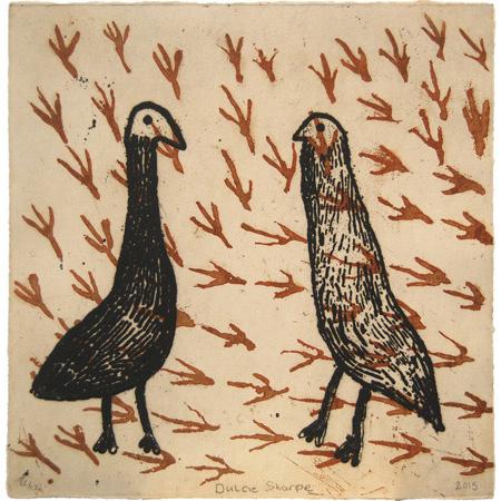 Two birds, etching by Dulcie Sharpe