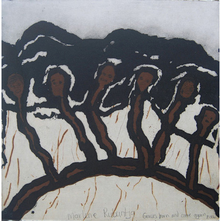 Grasses burn and come again, etching by Marlene Rubuntja