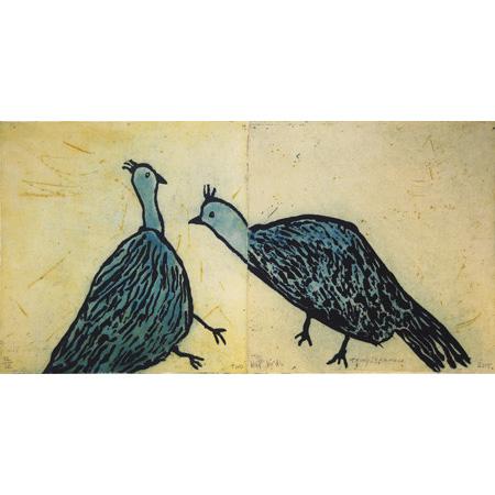 Two blue birds, etching by Trudy Inkamala