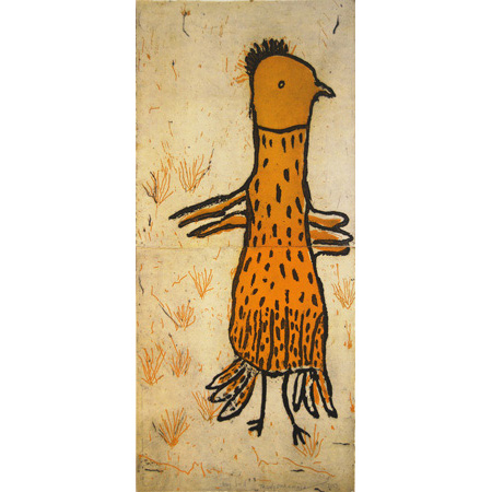 Long bird, etching by Trudy Inkamala