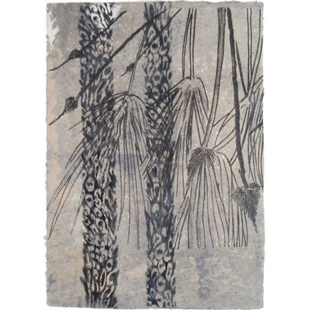 Gossip, drypoint on handmade paper by Winsome Jobling