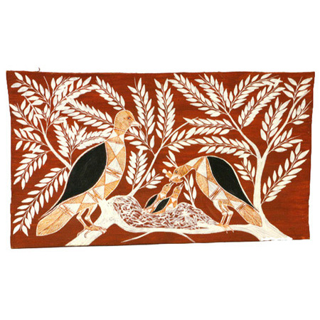 Marram (Whistling Kite), bark painting by Graham Badari