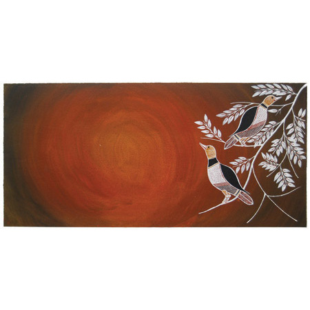 Kikkik (Brown Honeyeaters), acrylic on paper by Graham Badari