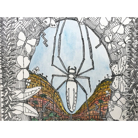 The giant orb weaver, detail, etching, 25 x 57 cm.