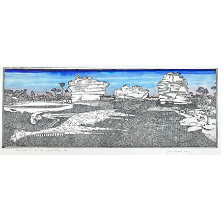 Leichhardt at the Monoliths, etching, 25 x 57 cm.