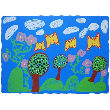 Sandra Milmilkama, Kun-red Merlemerle Karralkan (bush with butterflies), screen print, 50 x 68 cm.