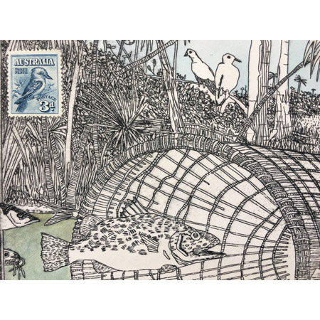 Fish trap at Nathan River, detail, etching, 25 x 57 cm.