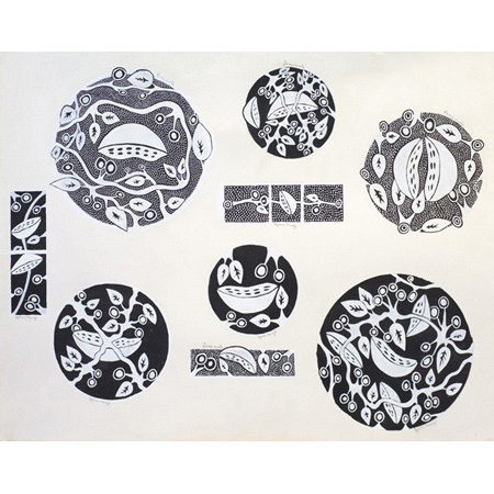 Gloria Mengil, My Favourite Bush Tucker- ceramic design, ochre on paper 76 x 102 cm
