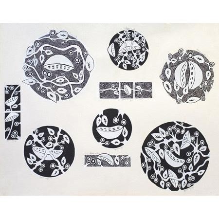 Gloria Mengil, My Favourite Bush Tucker- ceramic design, ochre on paper 76 x 102 cm