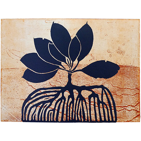 Melville Island Mangrove, lino print & etching by Anne McMaster