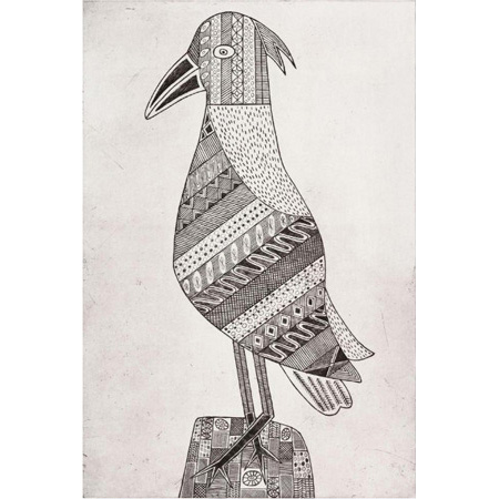 Kawukawunga - Female Bush Turkey, etching, 2018