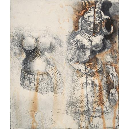 Preah Khan, figures & torso, etching,20 x 16.5 cm