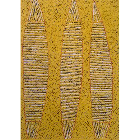 Regina Pilawuk Wilson, Yerrdagarri - Message Stick, silkscreen, 2018
