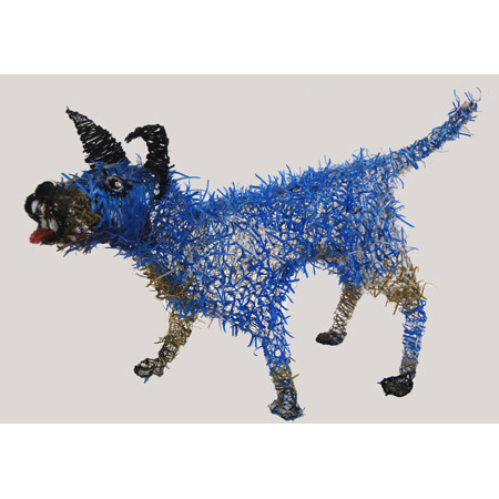Blue Dog, wire and tape by Merran Sierakowski