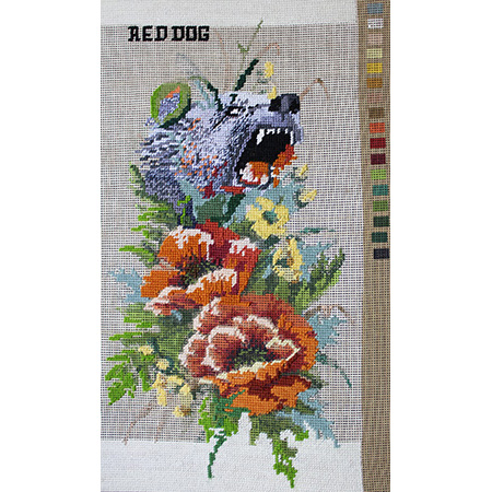Red dog, tapestry by Winsome Jobling