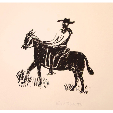 Cowboy from the Gulf, screen print by Violet Hammer
