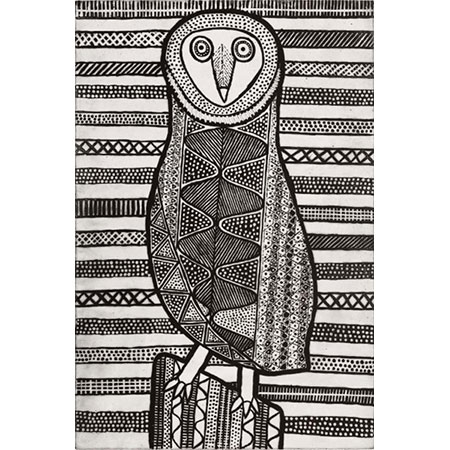 Pinjoma – Barn Owl, etching by Janice Murray