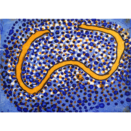 Ngapa Jukurrpa – Water Dreaming, etching by Shorty Jangala Robertson