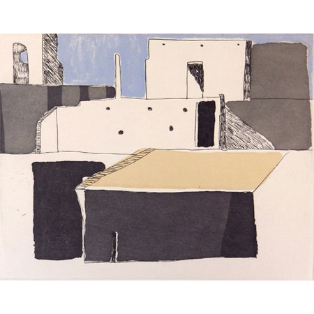 Morocco, soft ground aquatint etching with chine collé