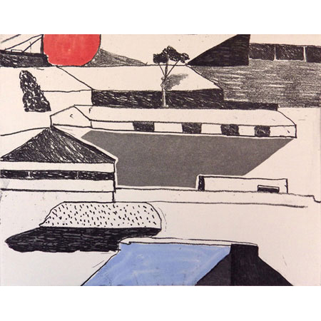 Port Fremantle, soft ground aquatint etching with mono printing