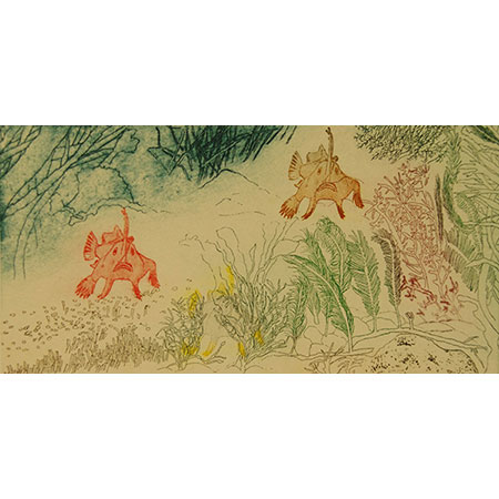 Walking Fishes of the Derwent, relief, etching, drypoint, chine colle