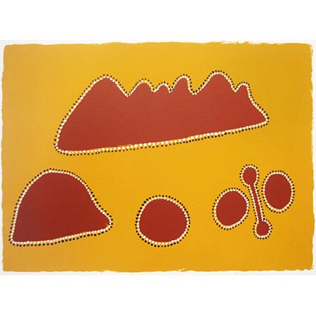 Yirrimbirrnga thon Borroonoongoo,screenprint, byPaddy Carlton (dec),41 x 60 cm