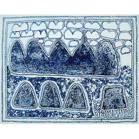 Ngayiwoorrji etching by Queenie McKenzie (dec)