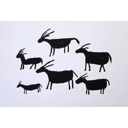 Nanny Goats, silkscreen by Marjorie Keighran